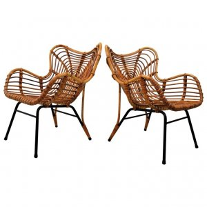 Pair of Rattan loungechairs