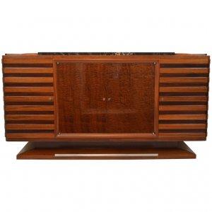 Gaston Poisson Art Deco Sideboard in Two-Tone Mahogany